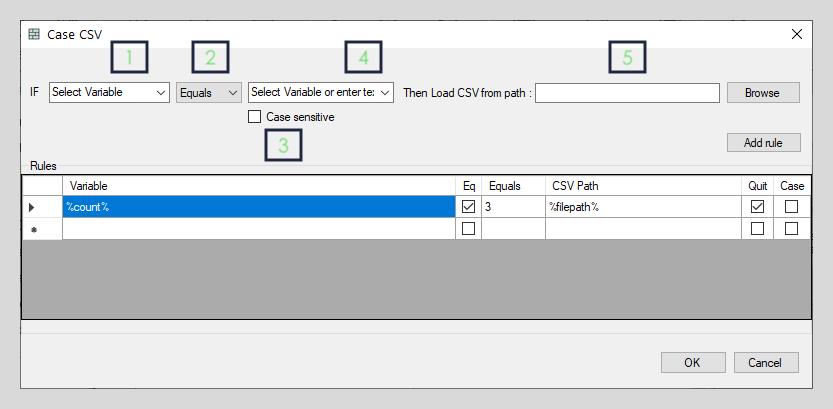 Case CSV interface