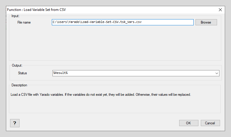 Load Variable Set from CSV