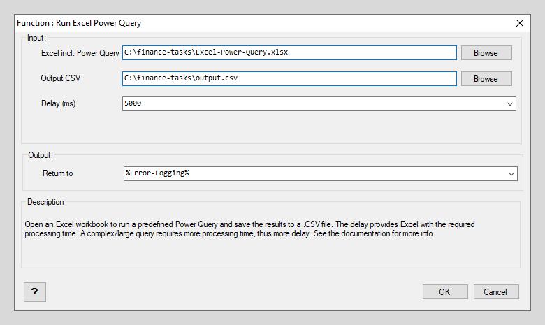 Run Excel Power Query