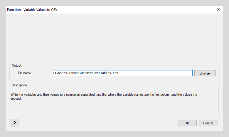 Variable Values to CSV